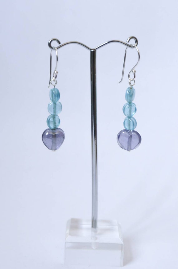 Boho Earrings. Glass hearts and discs. On sterling silver earwires.