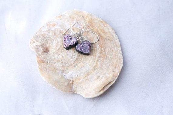 Hand modelled heart shaped earrings, rose-embossed, sterling earwires
