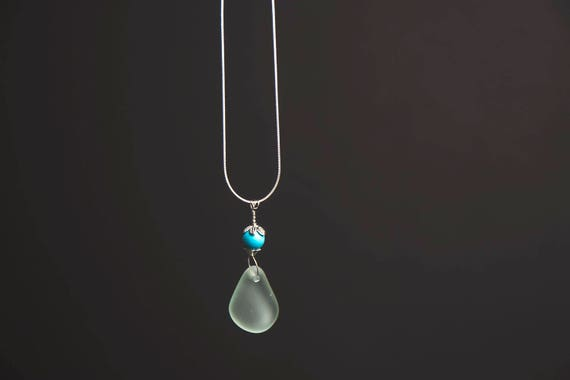 Silky Smooth Seaglass Necklace. Sterling Silver with Turquoise Gemstone Bead.