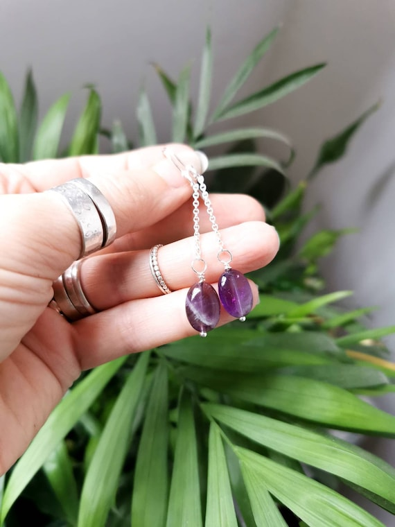 Amethyst earrings on sterling silver chain and earwires.
