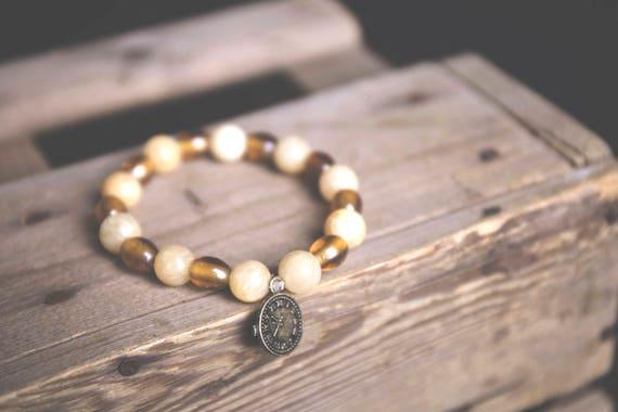 Honey Jade and Caramel Glass Bead Bracelet with Antique Bronze Clock Charm, gemstone, boho, hippie, natural