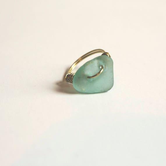 Brass and Seaglass Ring, wire wrap, handmade, beach treasures, mermaid jewels