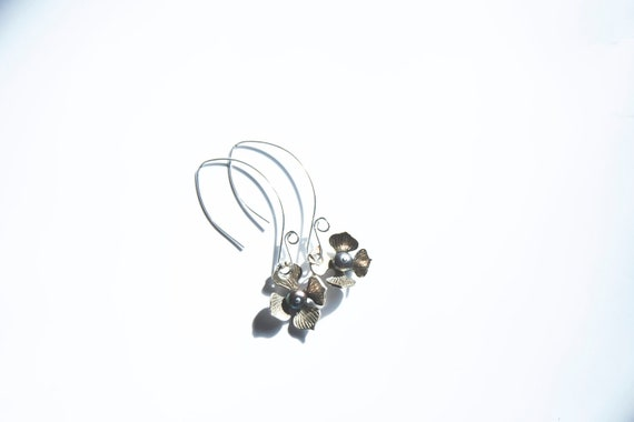 Pure Fine Silver Handmade Flowers, with freshwater pearls, on dramatic sterling silver earwires