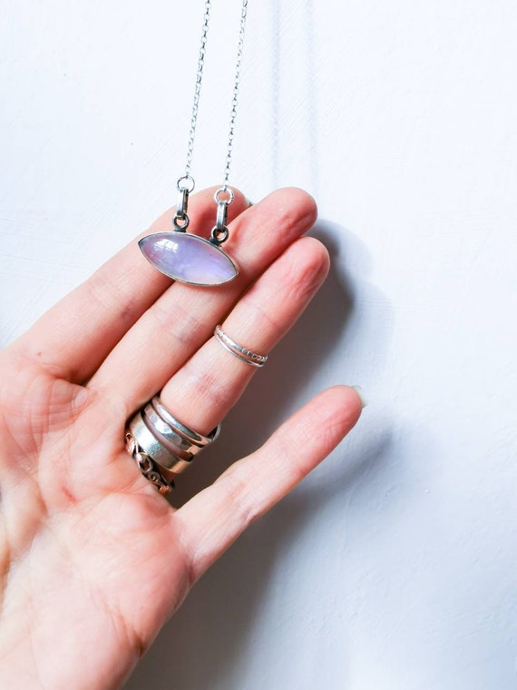 Beautiful moonstone oval in sterling silver pendant