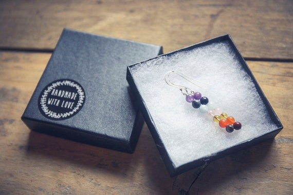 Natural stone chakra earrings. Sterling silver earwires.