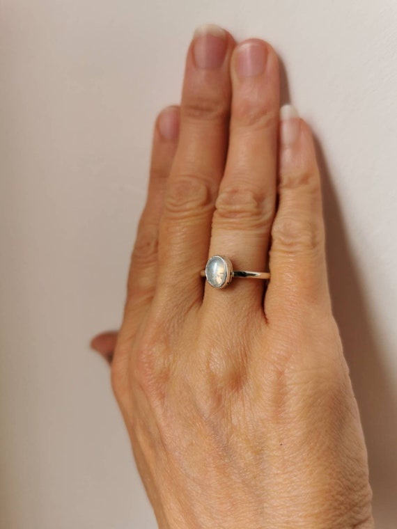 Sterling silver delicate Rainbow Moonstone ring, size N1/2 (UK) 6 3/4 (US)
