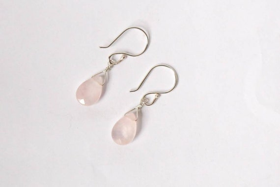 Faceted teardrops of rose quartz on sterling silver earrings. Simple and elegant. Handcrafted. One of a kind.