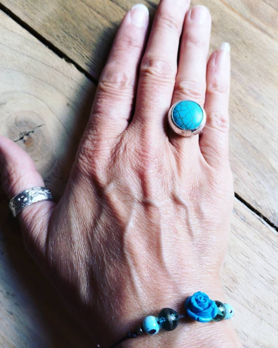 Sterling silver big turquoise  ring, size M UK
