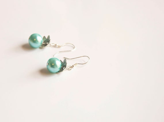 "Sterling silver turquoise 'pearl' drop earrings, boho, gypsy, hippie, surfer style. ""Frozen"""