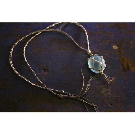 The Mermaid's Catch - seaglass and hemp necklace