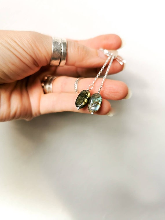 Labradorite earrings on sterling silver chain and earwires.