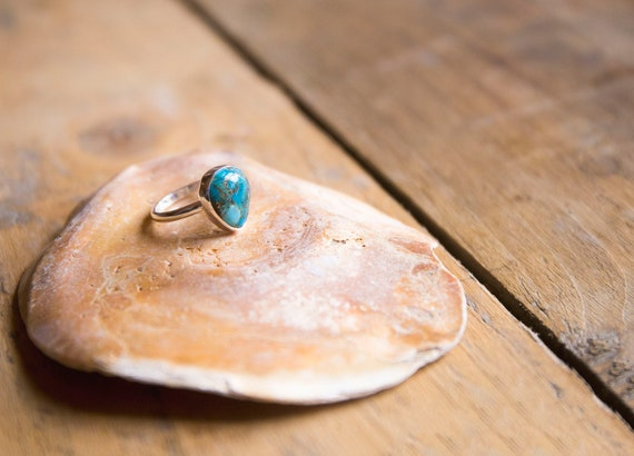 Sterling silver mojave turquoise ring, size N 1/2 (UK) 6.75 (US)