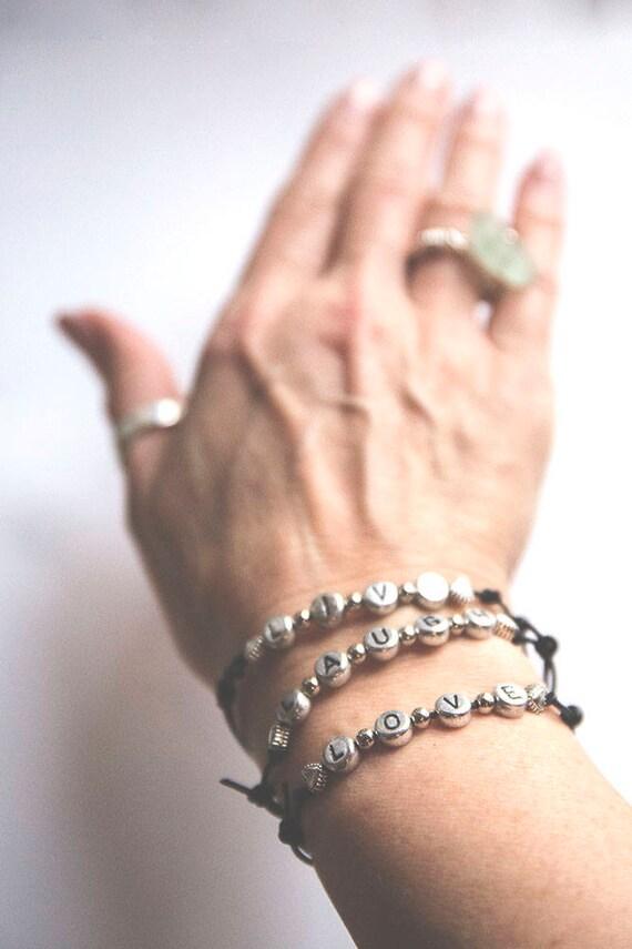 Skinny Leather Hippie Positive Message Bracelet, adjustable.  boho, natural, hippie, gypsy, live laugh love