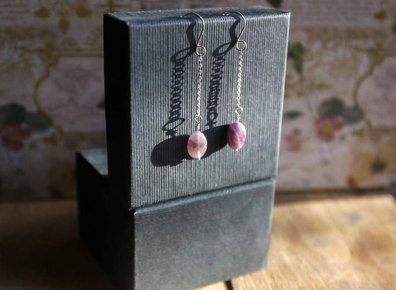 Amethyst and sterling silver earrings. Super dangly. Handcrafted. One of a kind.