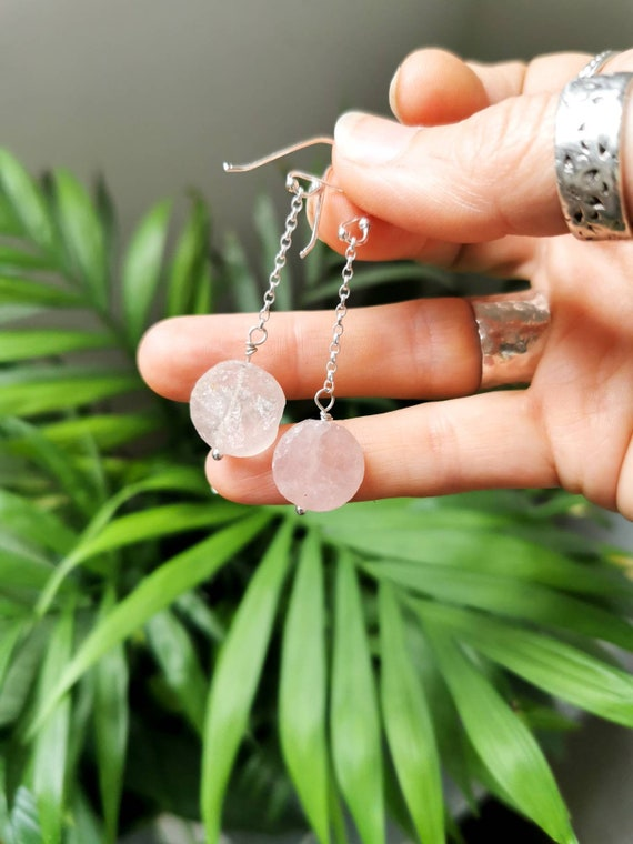 Raw discs of rose quartz on sterling silver earrings. Super dangly. Handcrafted. One of a kind.