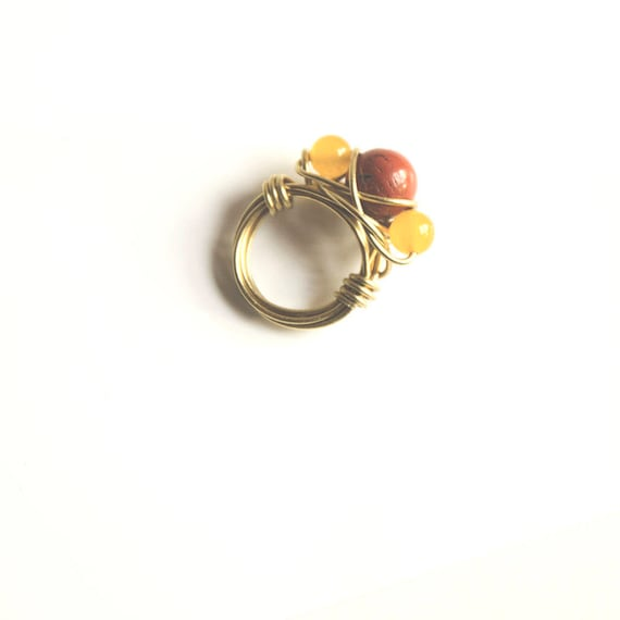 Triumvirate of Peace and Healing, Brass ring with Red Jasper and Yellow Jade, size L (UK) hippie, boho, chakra, gypsy