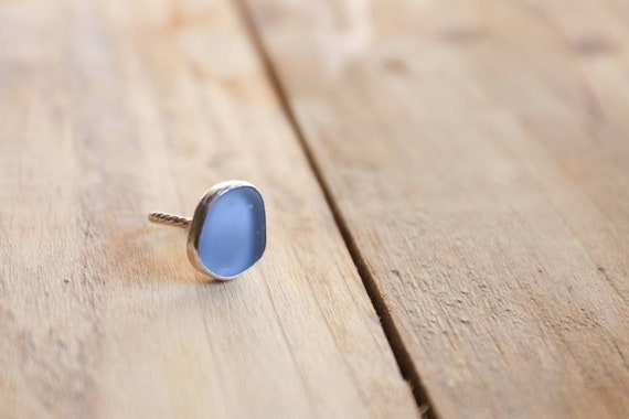 Sterling silver Blue Seaham seaglass ring, size K UK