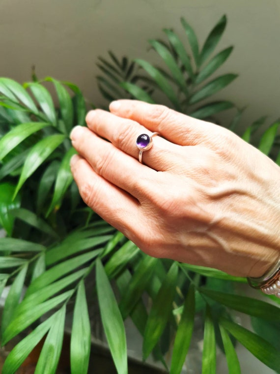 Sterling silver amethyst ring, size O (UK) 7 1/4 (US)