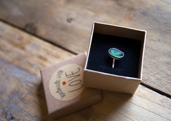 Sterling silver bottle green t seaglass ring, size ) (UK) 7 (US)