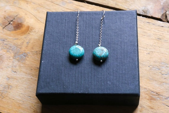 Little round pebbles of turquoise on sterling silver earrings. Super dangly. Handcrafted. One of a kind.
