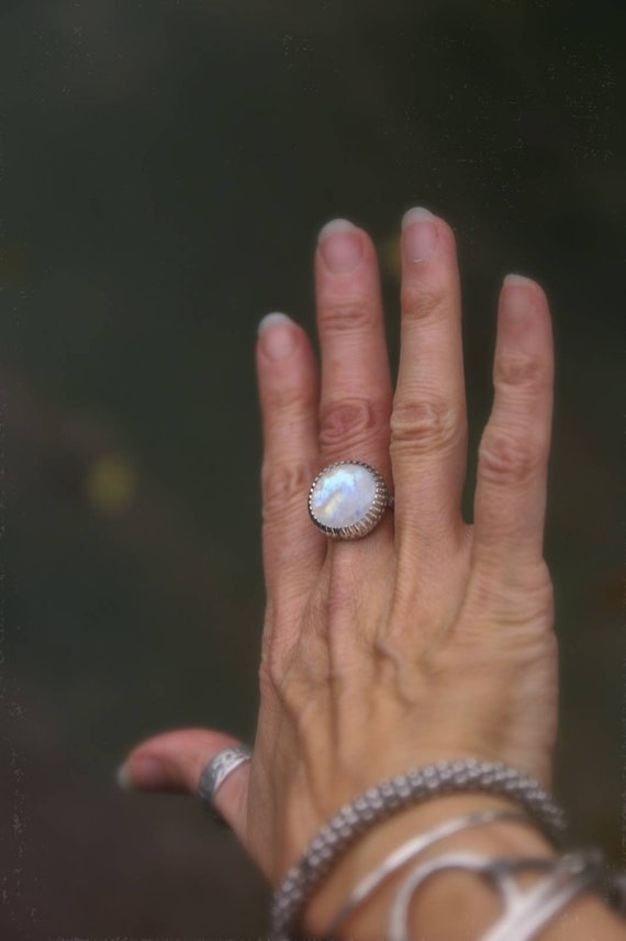 Sterling silver rainbow moonstone ring, size P (UK) 7.5 (US)