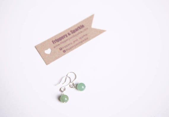 Sterling silver aventurine earrings.