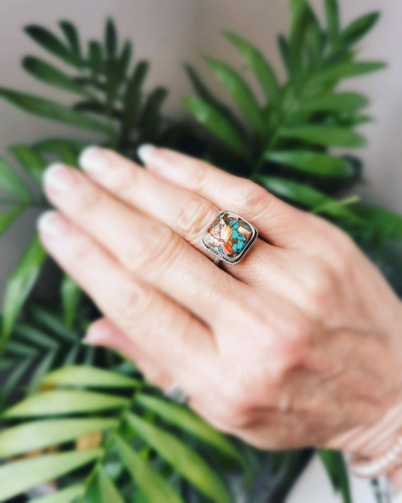 Sterling silver mojave turquoise ring, size N 1/2 (UK) 7. 25 (US)