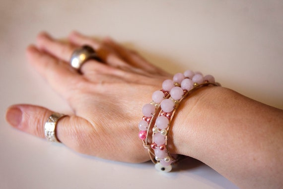 Double-Wrap Soft Suede and Bead Bracelet. Handmade, Frosted Rose Quartz