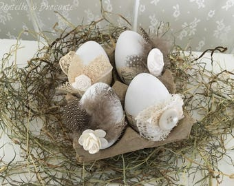 Easter decor: set of 4 eggs decorated, lace, feathers and sheet music!