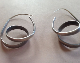 Bespoke silver double loop hoops