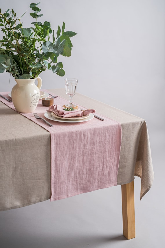 Blush Abstract by jenlats Abstract Marble  Blush Pink Cotton Sateen Table Runner by Spoonflower Pink Tan White Black Table Runner