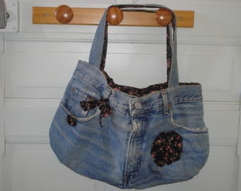 Old jeans recycled handbag