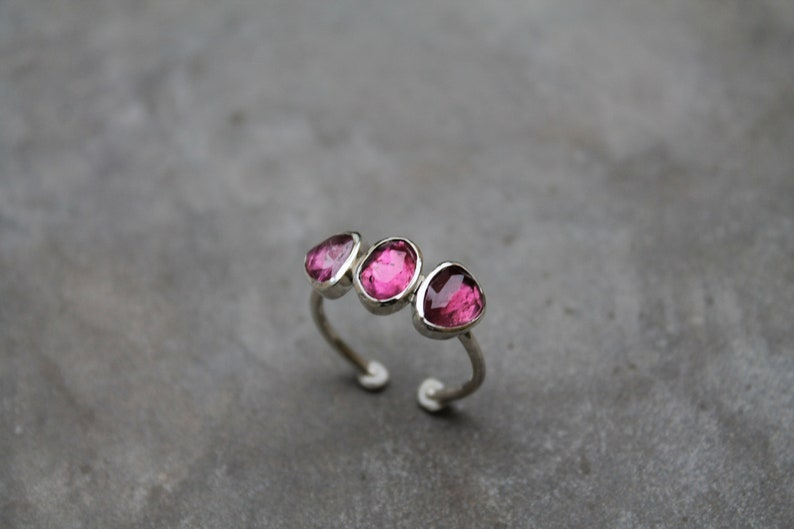 Silver ring and pink tourmalines