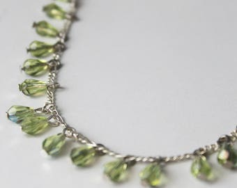 925 Silver necklace drops beads olivine green Crystal/silver woman/collar necklace green wedding / bridal necklace