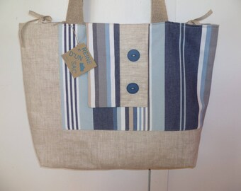 sac à main, cabas, sac de plage en tissu enduit écru et belle toile imprimée intérieur et extérieur , à porter à l'épaule,