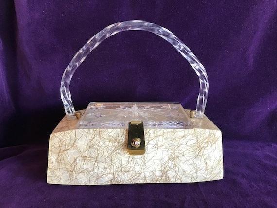 Beautiful Lucite Box Purse  Vintage Confetti Purse