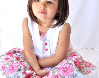 Pink linen - Opiquet romantic flower girl dress