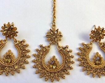 Polki Jhumka, Indian Earrings, Pakistani Jewelry,Teeka Set,Kundan Earring,Gold Jhumki,Bollywood Earrings,Indian Tikka, Jewelry USA