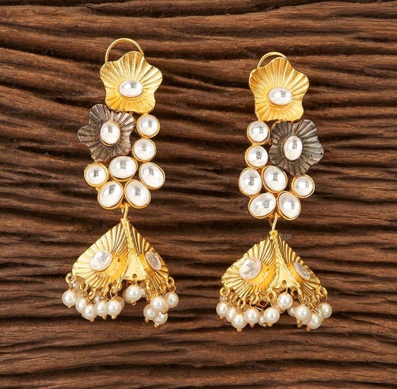 Indian Jewelry Pakistani Jewelry Bollywood Jhumki Jhumka Earrings Diamond Jhumka Earrings Gold Jewellery AD Earrings Indian Earrings