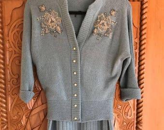 Beautifully Beaded Vintage Sweater/Skirt Set