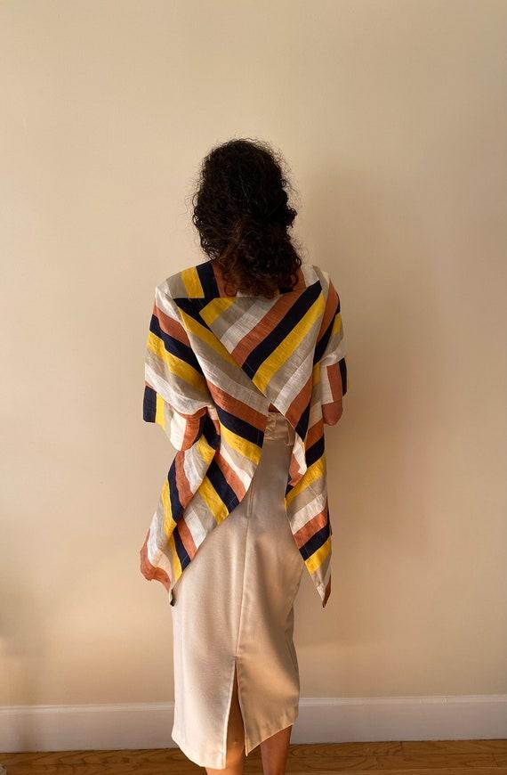 Striped Open Back Linen Top