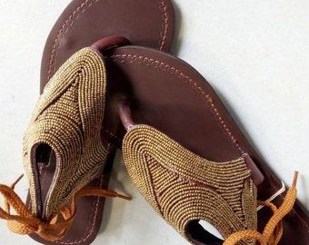 38c1ff11577215 African Masai beaded sandals for women- Kenyan sandals for women - Leather  sandals- Flat sandals- Handmade sandals - Silver sandals