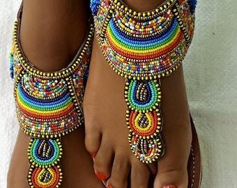 ON SALE! African gladiator sandal/Gold sandals/Sandals for women/Bohemian sandals/Summer sandals/Leather sandals/ Maasai sandal/Kenyan shoe