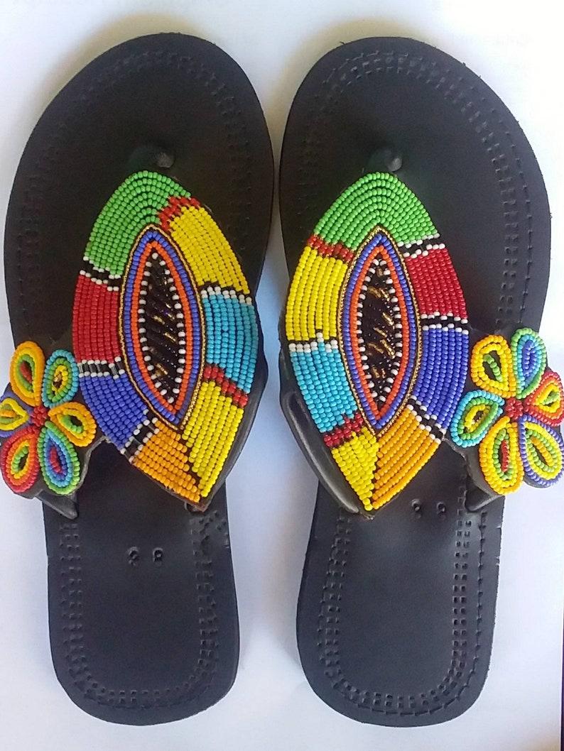 19e4d9b748ba6 Women sandals- Maasai beaded sandals- Leather Sandals- women's gift-  Handmade sandals- Flat sandals- Kenyan sandals- women's fashion