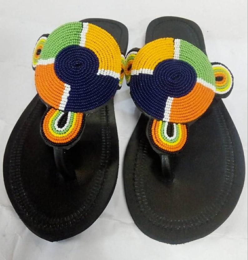 149e4e135a8f2 Maasai beaded sandals- African beaded sandals- Kenyan sandals- women's  gift- Handmade sandals- Flat sandals- Leather Sandals- t strap sandal