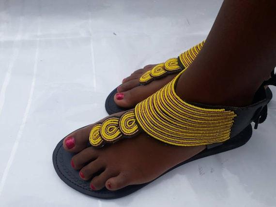 AUF Verkauf afrikanischen Perlen Sandalen für Frauen Maasai Perlen Sandalen für Frauen Ledersandalen flache Sandalen Frauen Sandalen