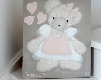 tableau ourson peinture pour chambre de petite fille