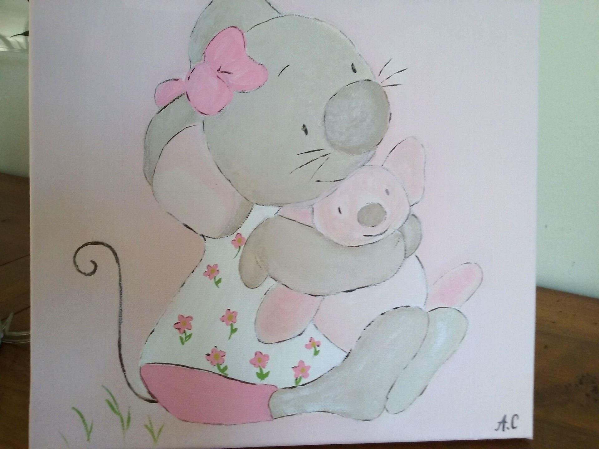 Tableau peinture pour chambre petite fille mimie petite etsy - Tableau chambre fille ...