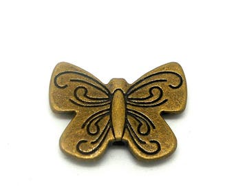 Set of 5 charms or Butterfly connector bronze.
