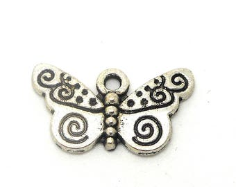 Butterfly motis color silver charm